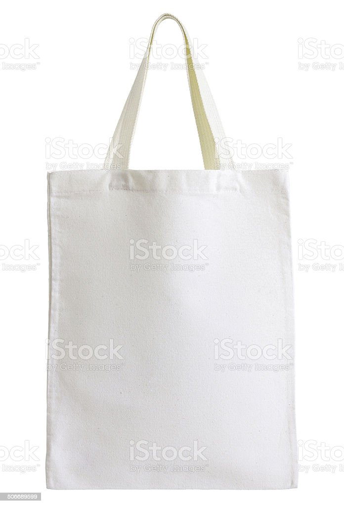 Cotton bag isolated on white stock photo