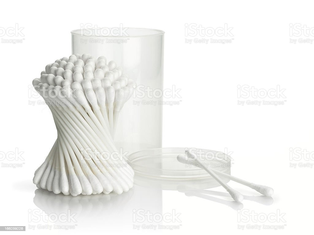 Cotton buds and plastic packing on a white background royalty-free stock photo