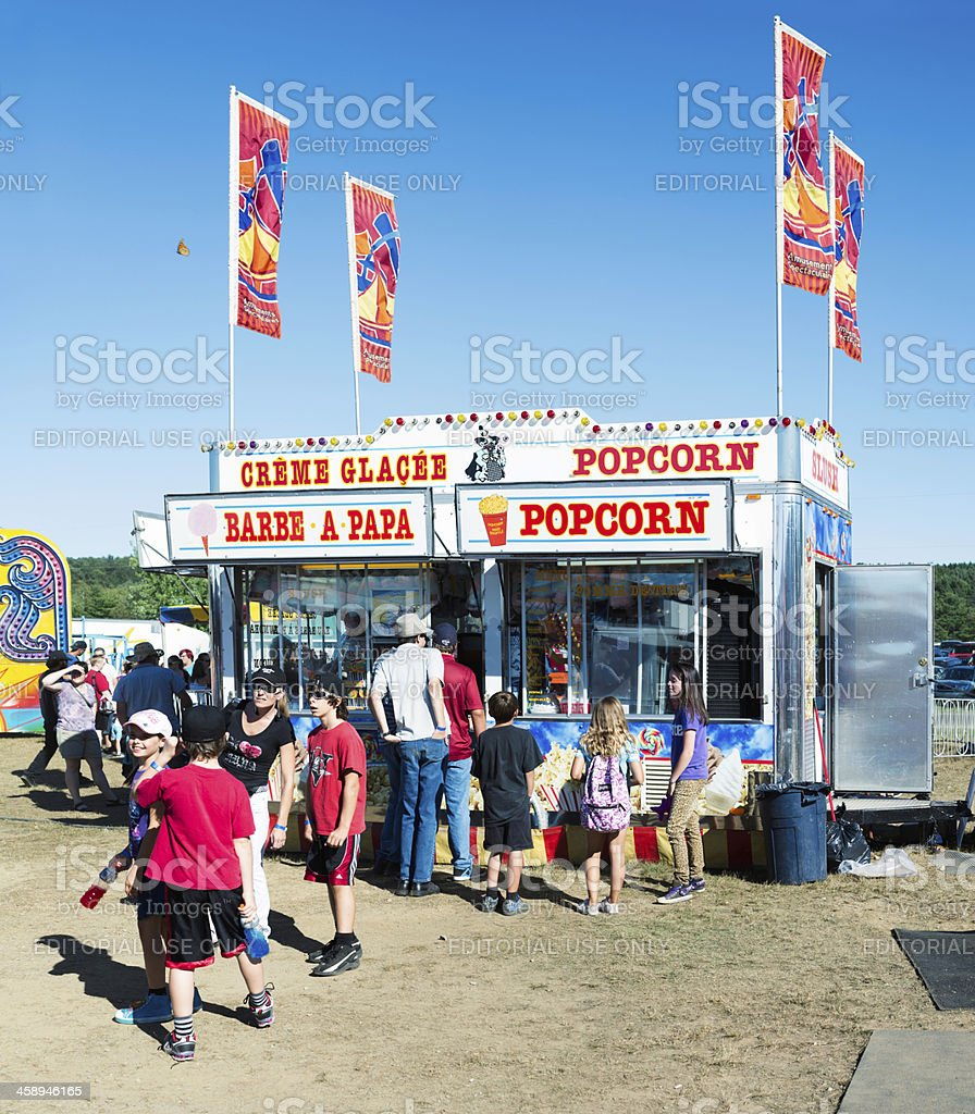 Cotton candy and popcorn stand at Brome County Fair royalty-free stock photo