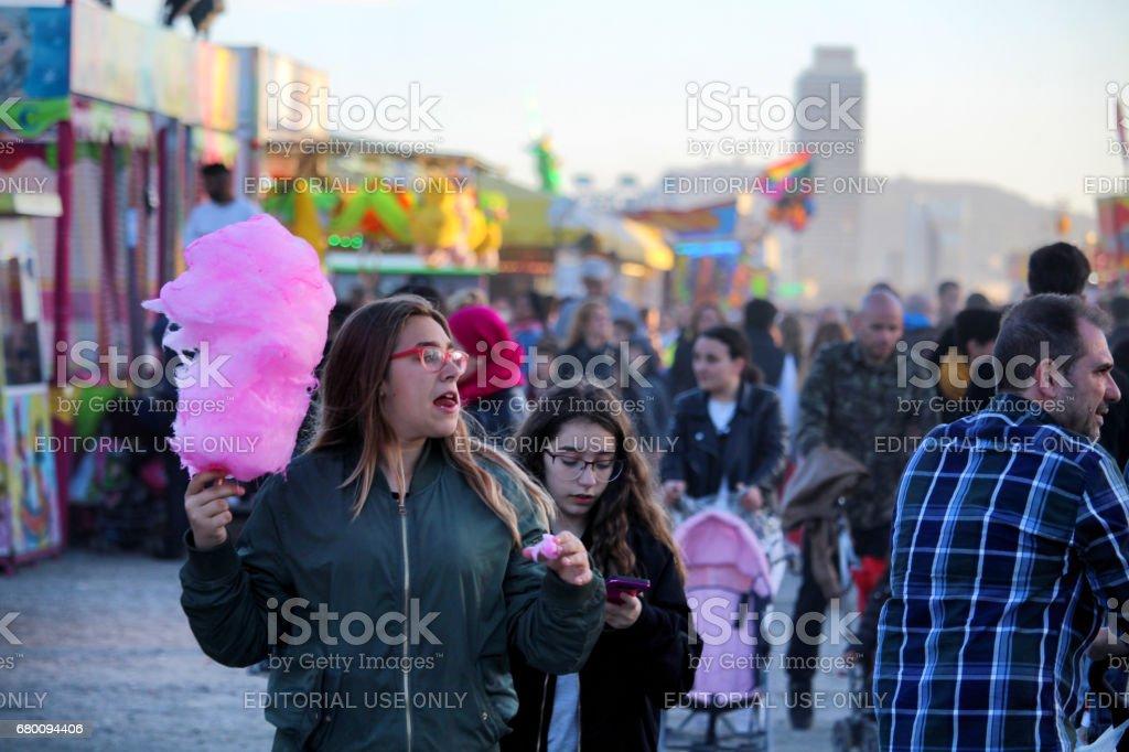 Cotton candy at Luna Park stock photo