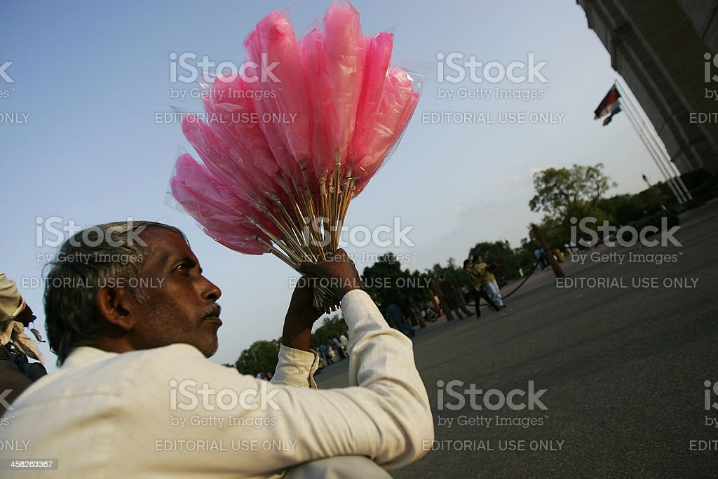 Cotton candy vendor India gate royalty-free stock photo