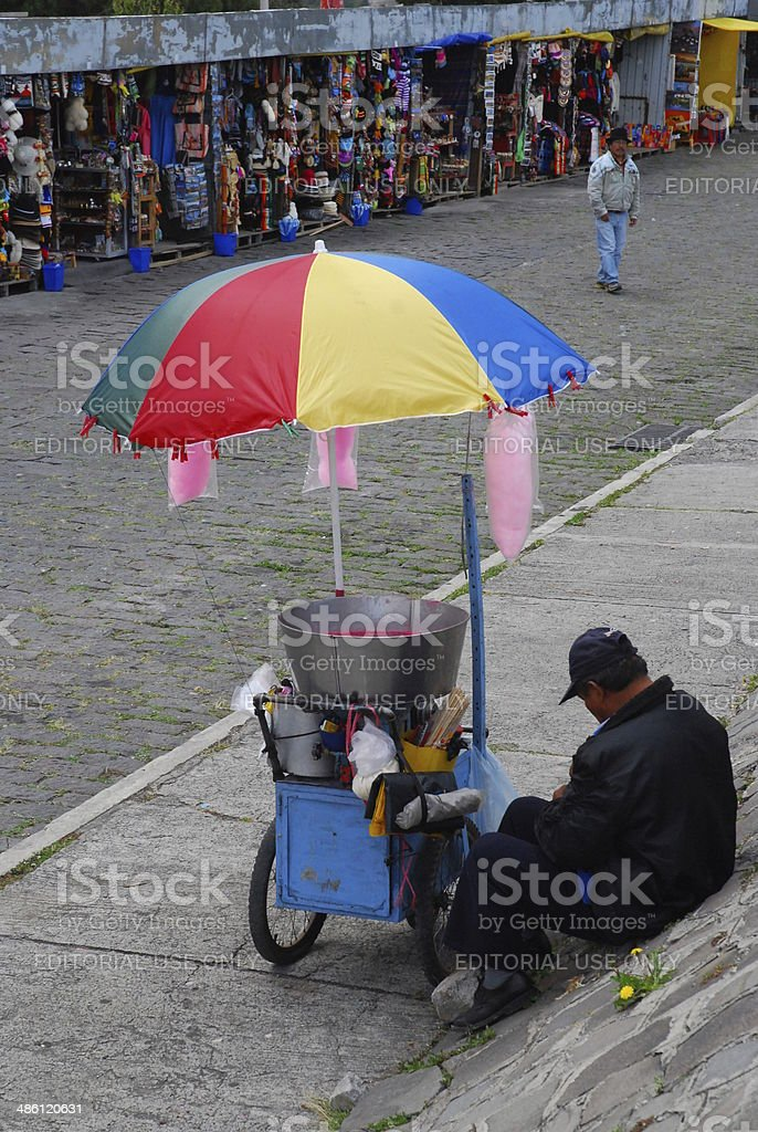 Cotton Candy Vendor Takes A Rest royalty-free stock photo
