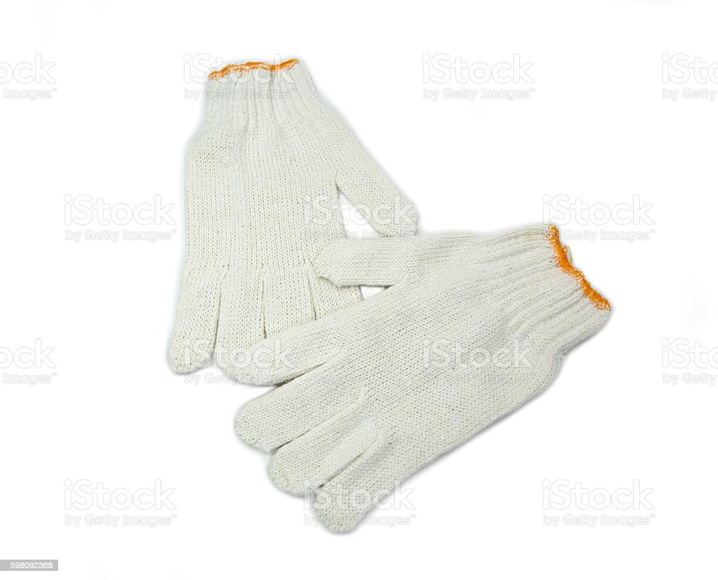 Cotton gloves isolated on white background stock photo