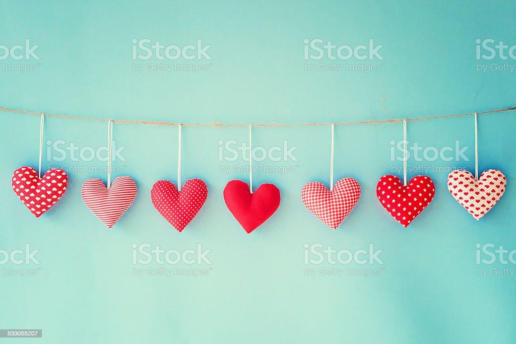 Cotton hearts stock photo
