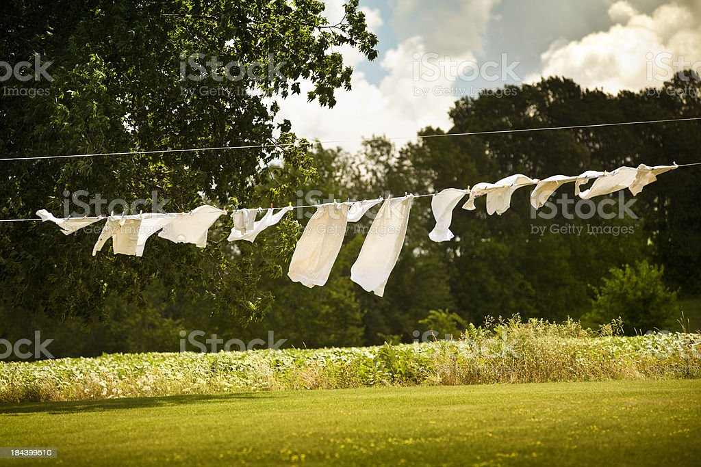 Cotton laundry hanging on a clothesline stock photo