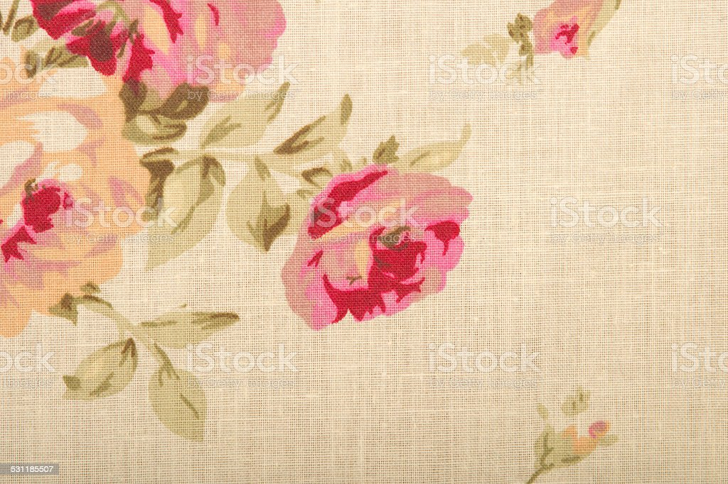 Cotton linen fabric texture with drawing flowers stock photo