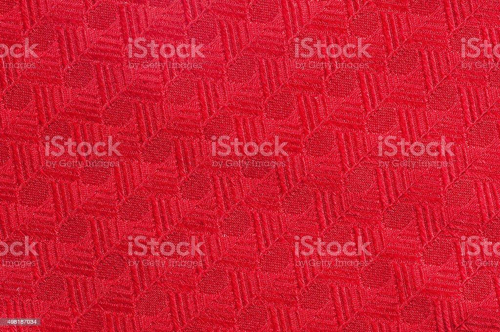 Cotton, Linnen, Wool Blanket Detail, Red stock photo