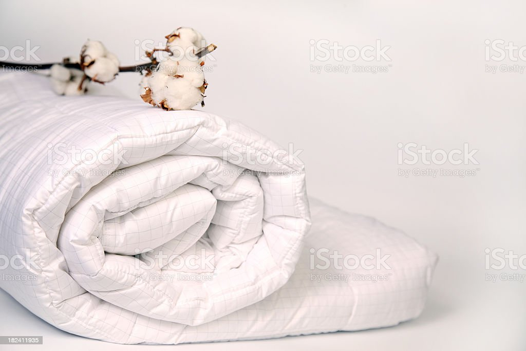 Cotton on duvet. stock photo