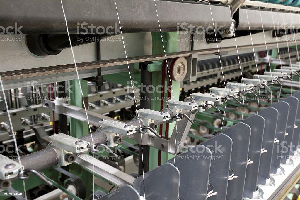 Cotton spinning machine stock photo