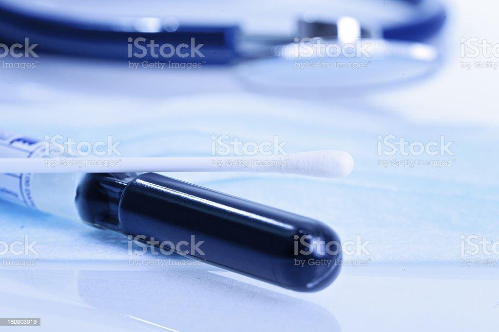 Cotton swab test tube stock photo