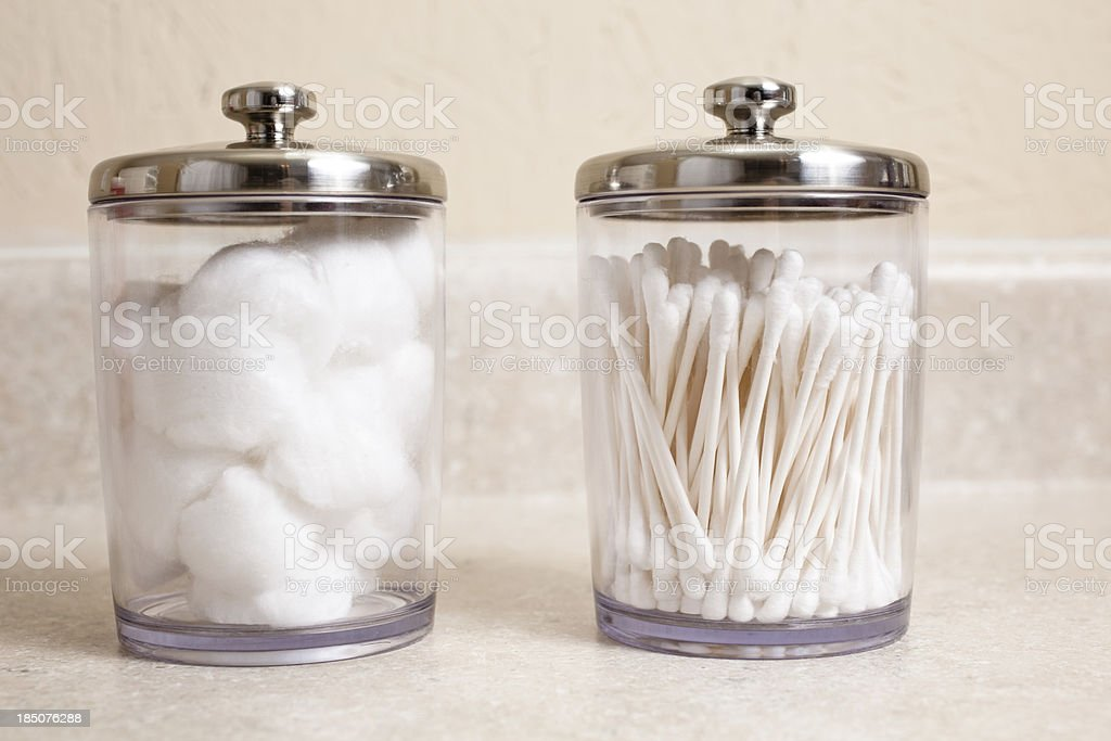 Cotton swabs and balls in jars at doctor's office. stock photo