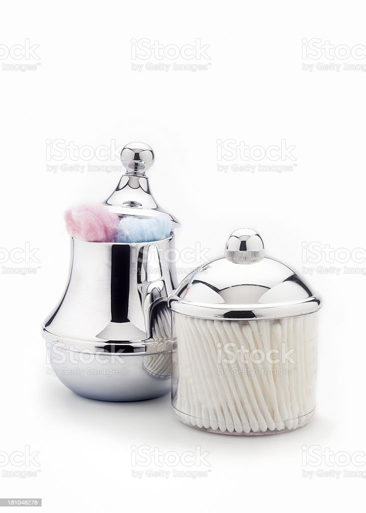 cotton swabs and balls in silver jar royalty-free stock photo