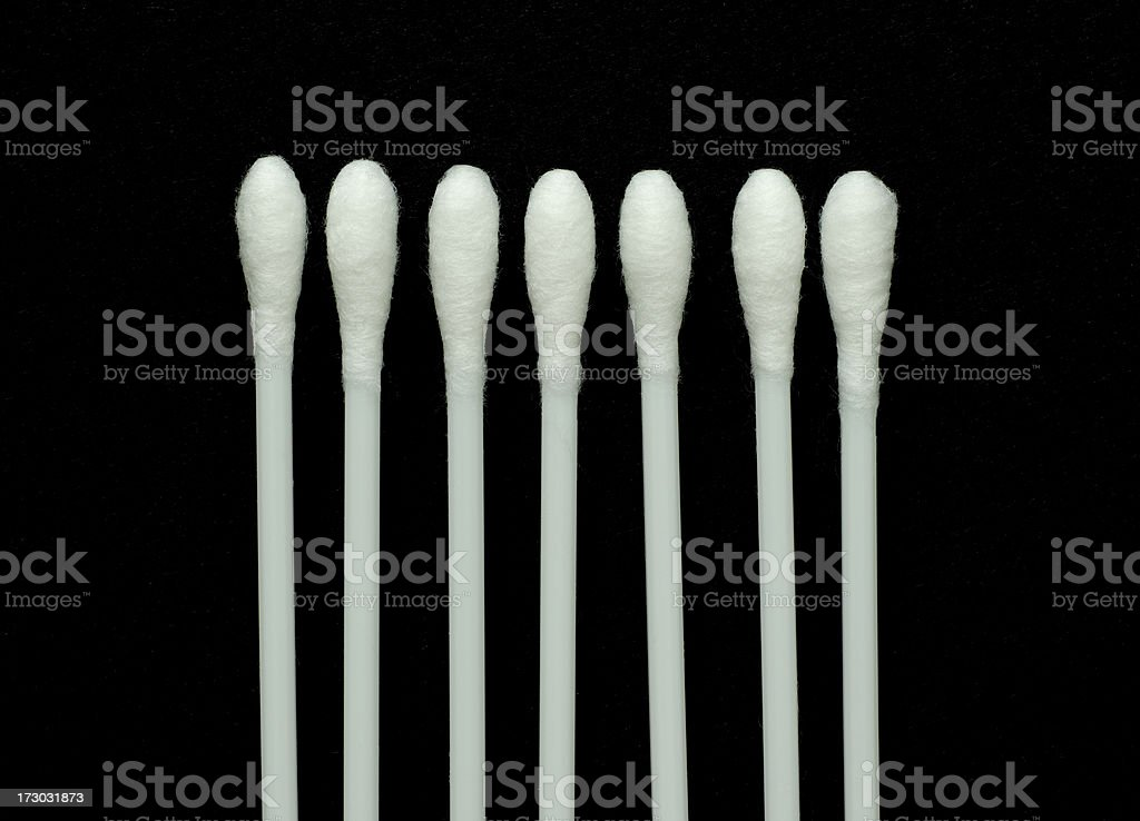 Cotton Swabs isolated on Black royalty-free stock photo