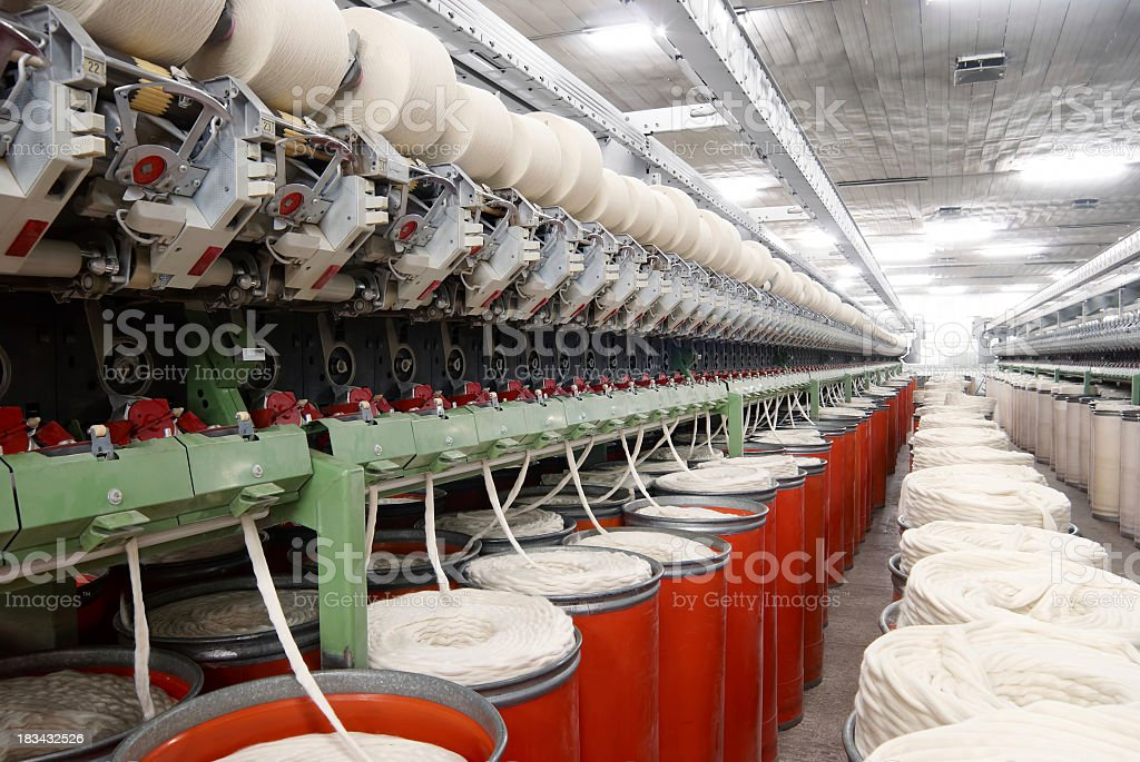 Cotton thread machine lines in a textile factory. royalty-free stock photo