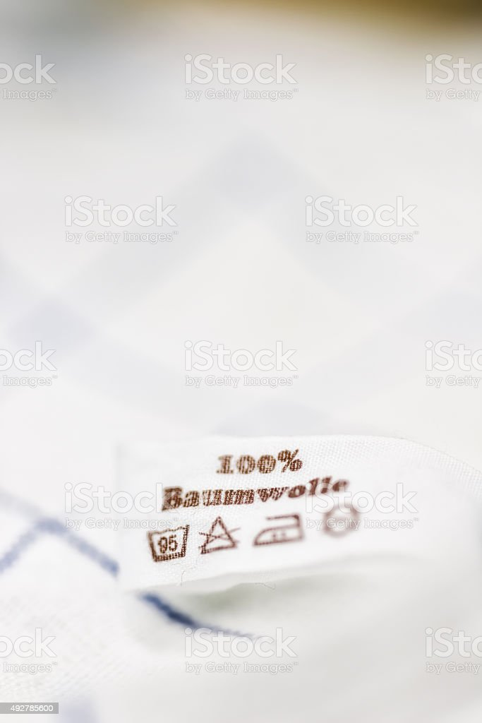 100% Baumwolle cotton washing label stock photo