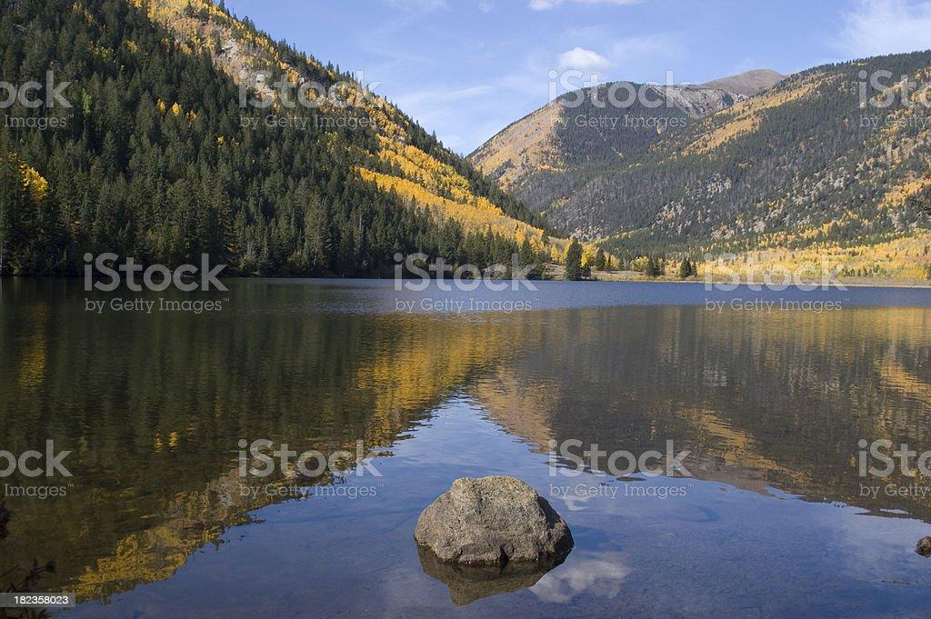 Cottonwood Lake Fall Reflection stock photo