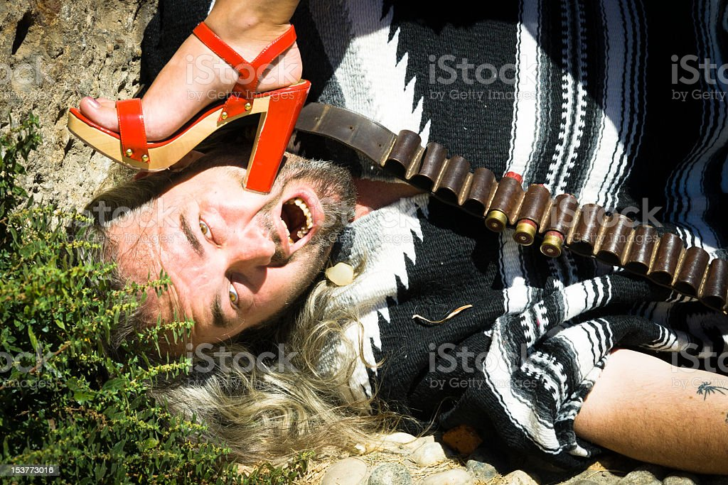 Coucasian Man Is hitting by a Sexy Girl royalty-free stock photo