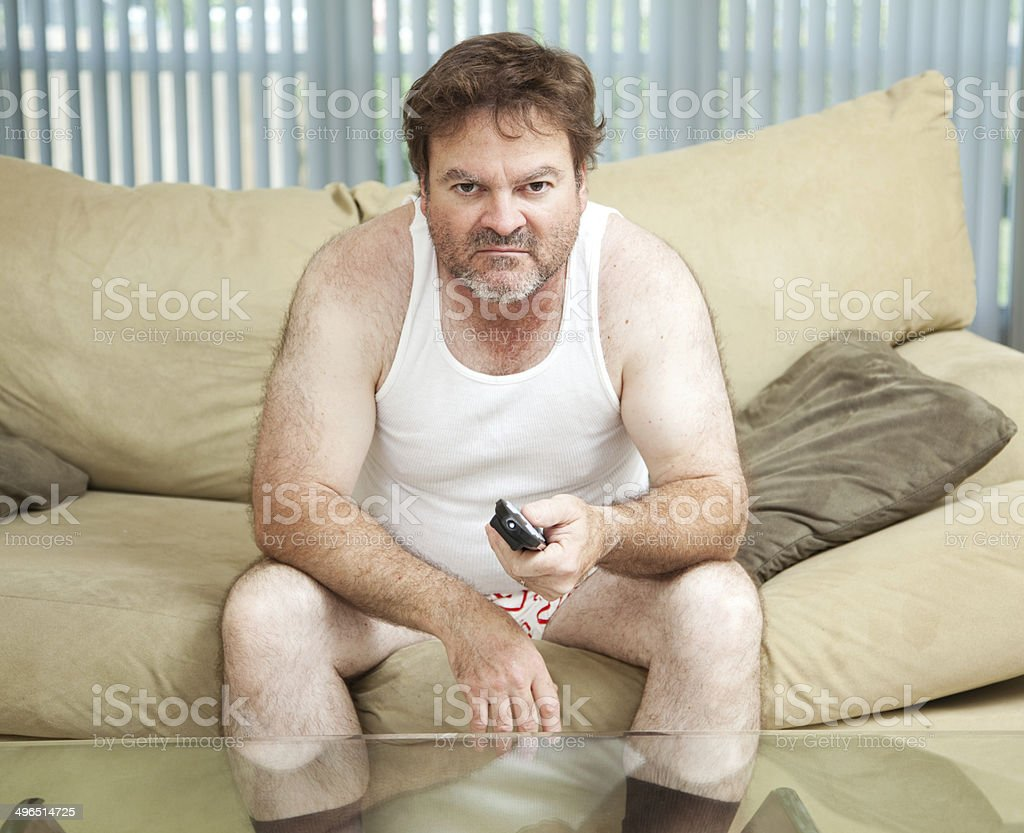 Couch Potato Watching TV stock photo