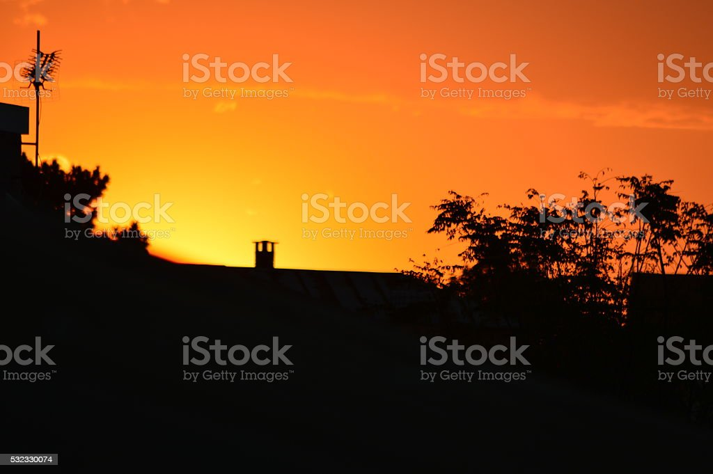 Coucher de soleil à Antananarivo stock photo