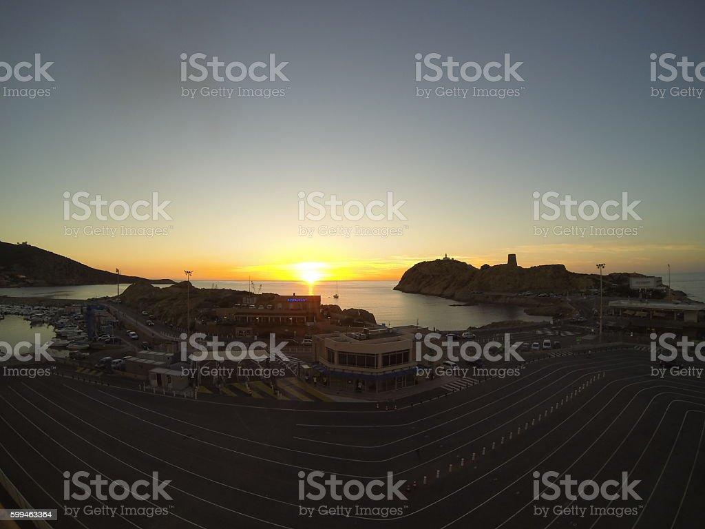 coucher de soleil sur l'Ile Rousse stock photo