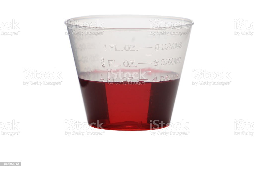 cough syrup in cup stock photo