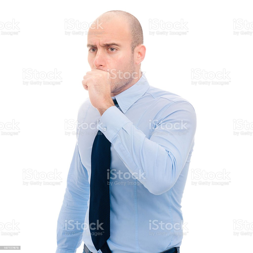 Coughing Man on white background royalty-free stock photo