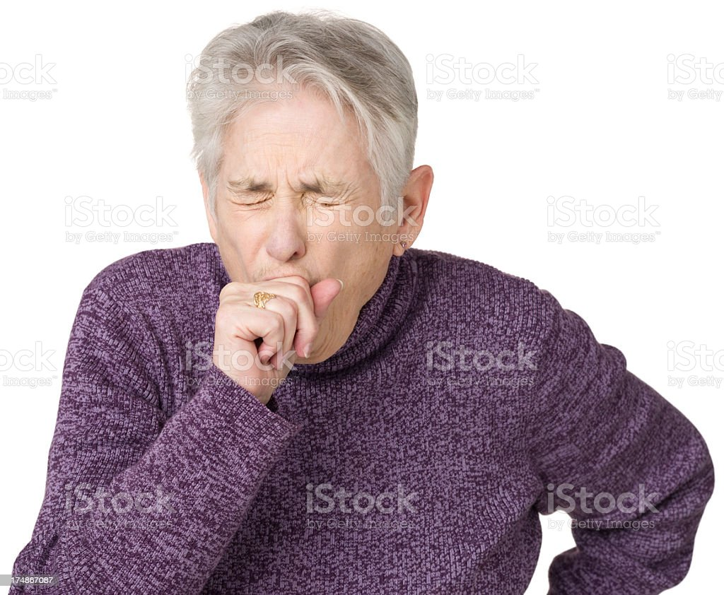 Coughing Senior Woman stock photo