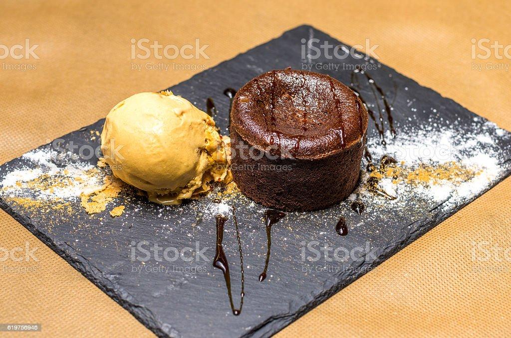coulant fondant chocolat vanilla yellow slate ice cream stock photo