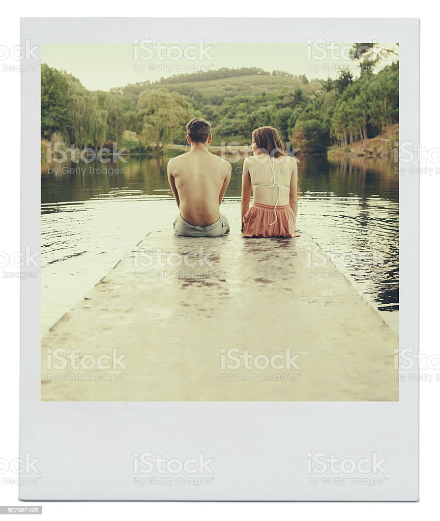 Could this be a blossoming young romance? stock photo
