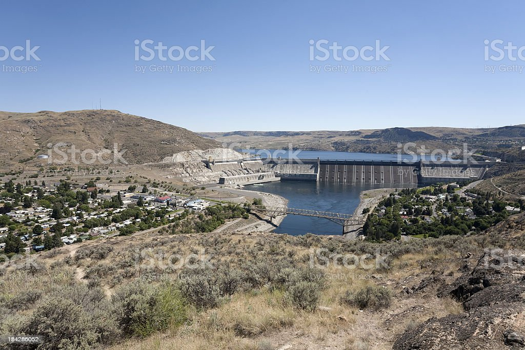 Coulee City and Dam stock photo
