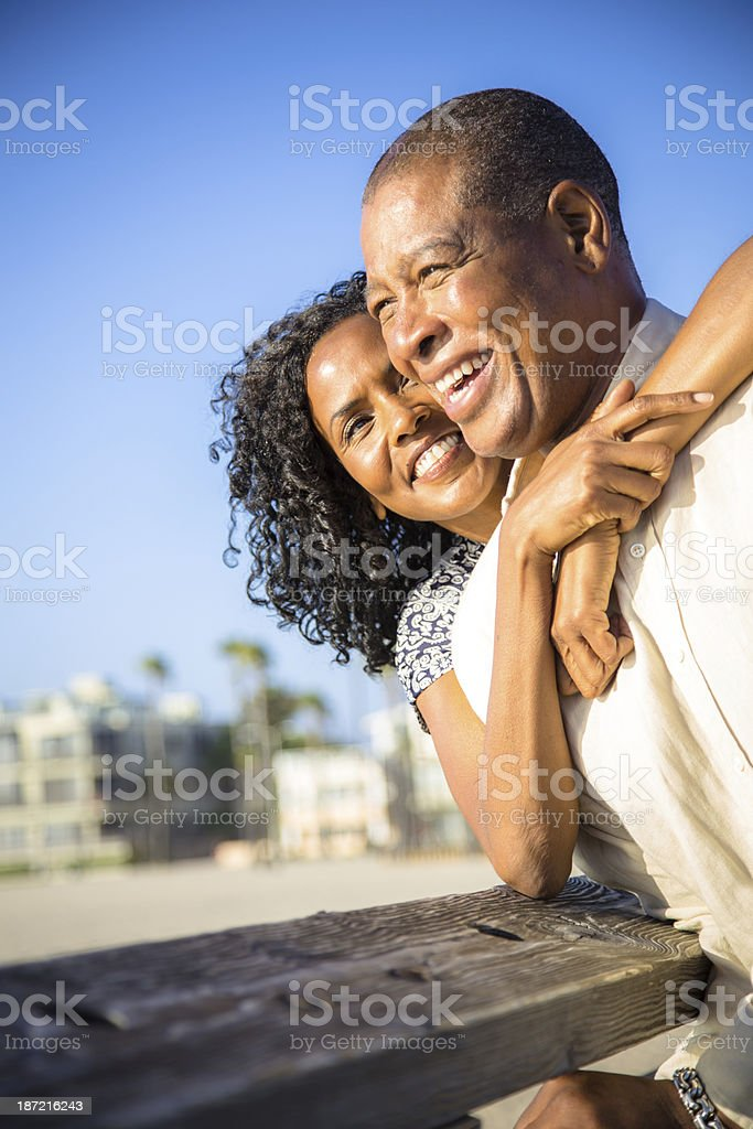 Coulple Smiling on Venice Pier stock photo
