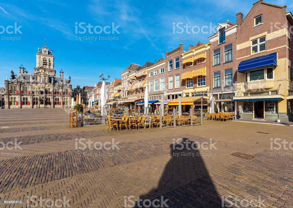 Council building and Central square in Delft, Netherlands stock photo