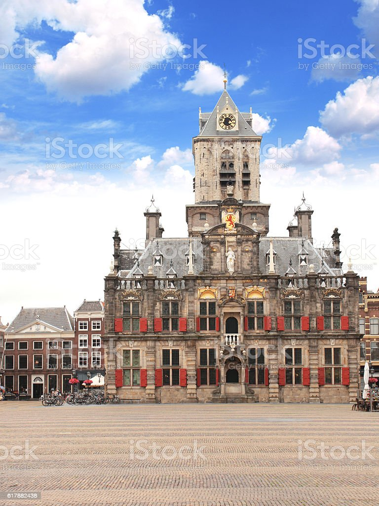 Council building (Stadhuis), Central square, Delft, Netherlands stock photo