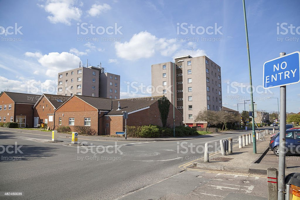 council housing 60s tower blocks Potter Street Harlow Essex stock photo