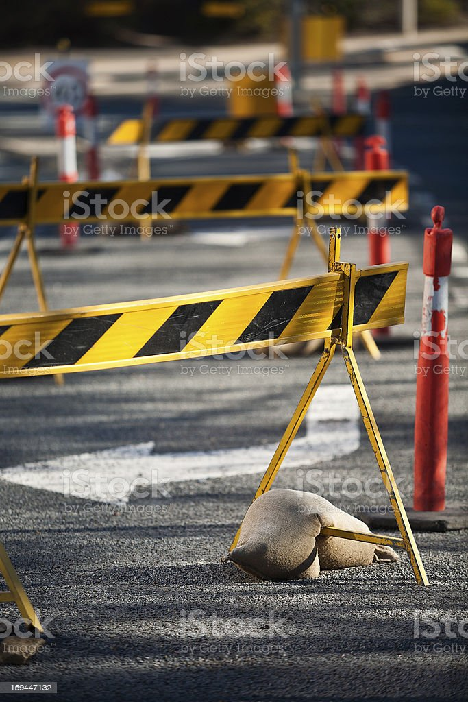 Council road blocks royalty-free stock photo