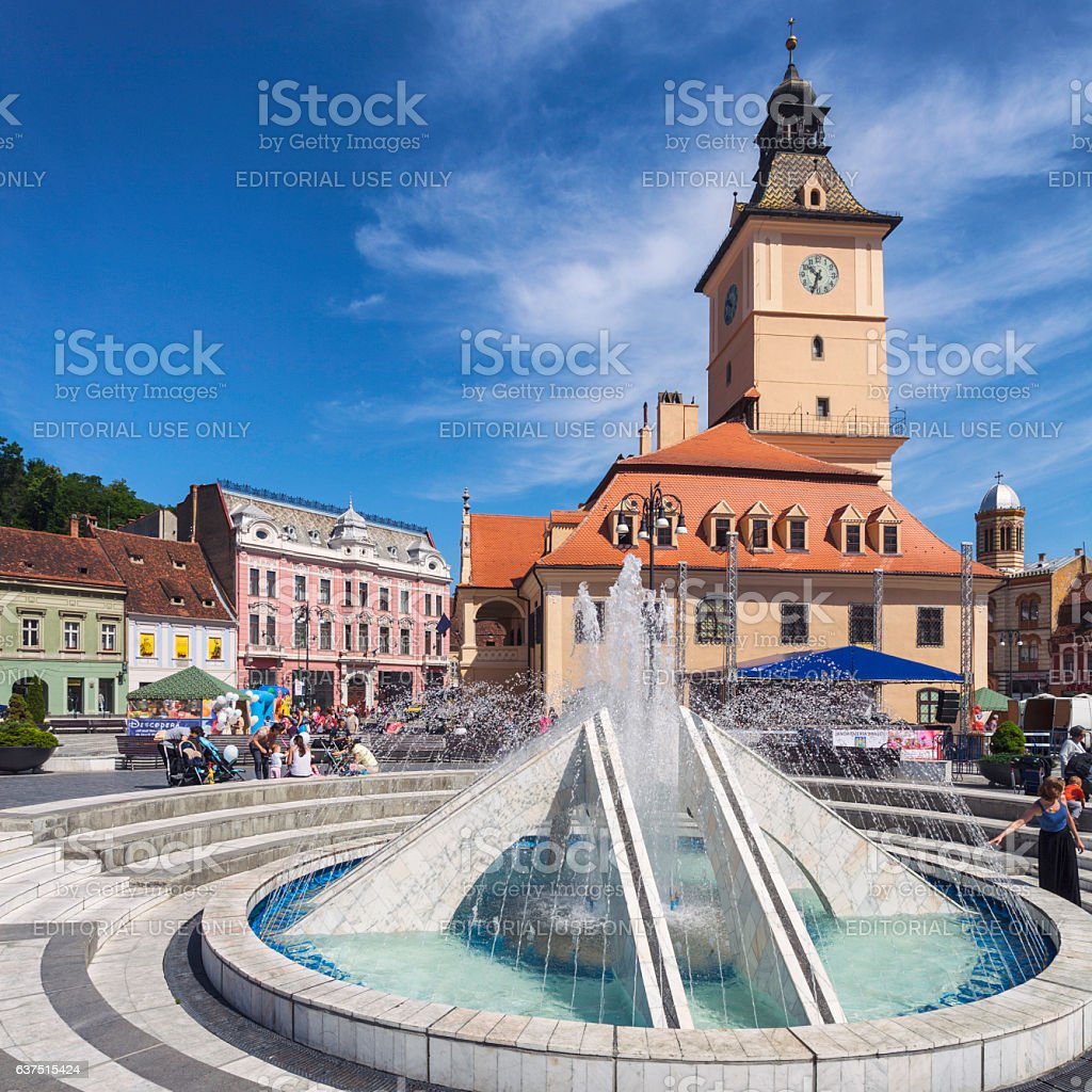 Council Square in Brasov stock photo