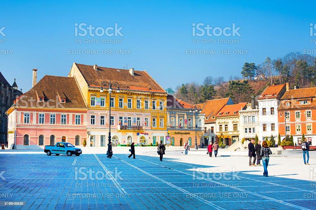 Council Square or Piata Sfatului in downtown of Brasov, Romania stock photo