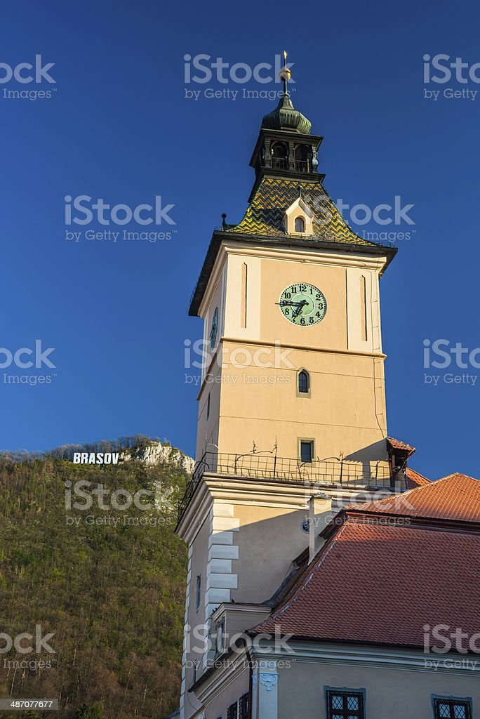 Council Tower and Tampa Mountain, Brasov royalty-free stock photo
