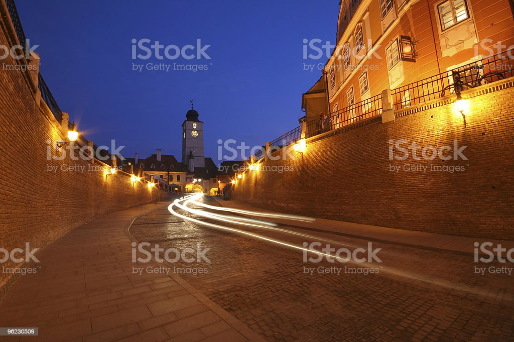 Council tower view from Sibiu at night royalty-free stock photo