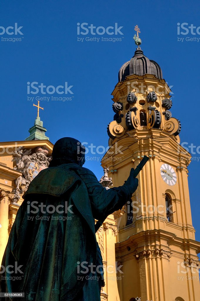 Count Tilly Statue and Theatine Church in Munich, Germany stock photo