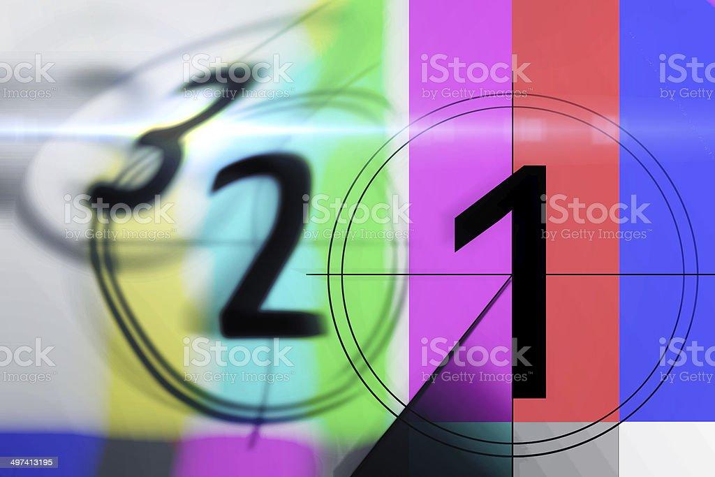 countdown 3 2 1 on TV stock photo