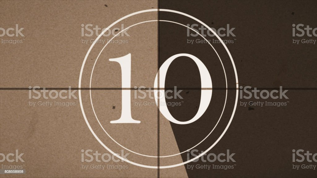 Countdown in the style of the old movie figure 10 stock photo