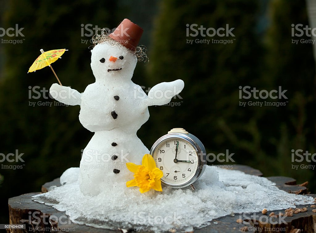 Countdown the snowman melts stock photo