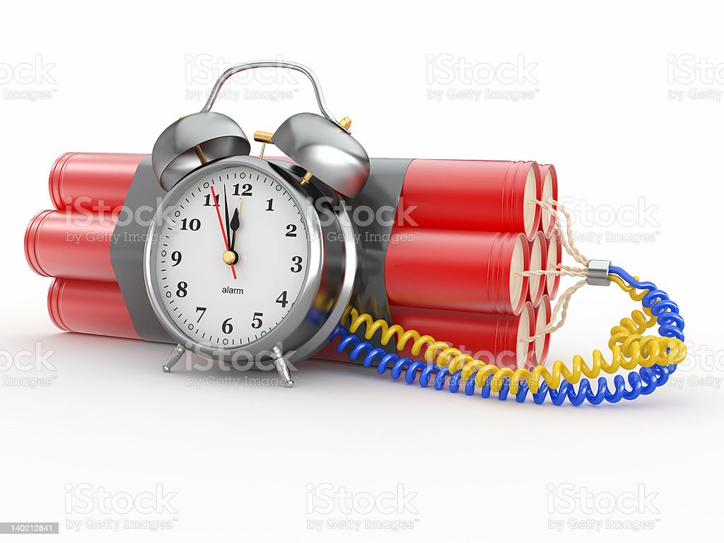 Countdown.  Time bomb with alarm clock detonator. Dynamit royalty-free stock photo