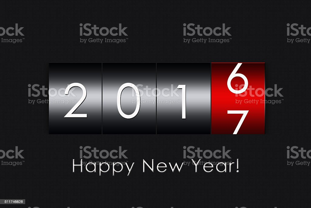 2017 countdown timer  isolated on black background. stock photo