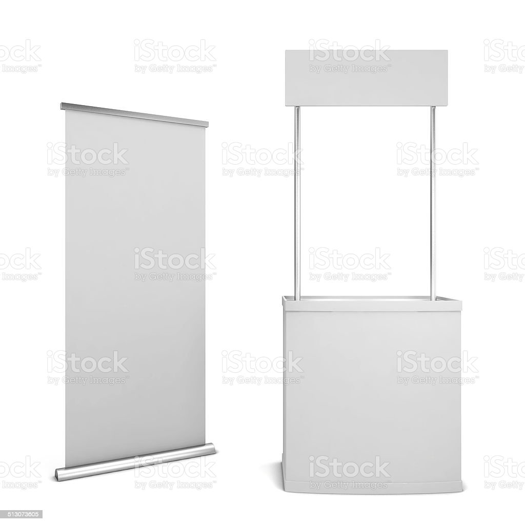 Counter and banner stock photo