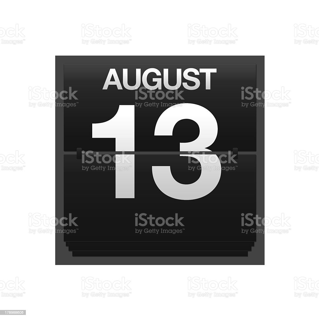 Counter calendar august 13. royalty-free stock photo