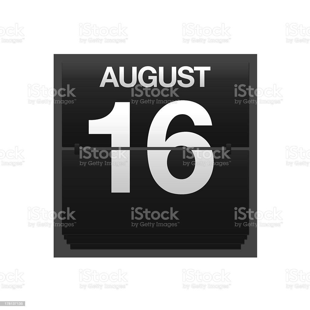 Counter calendar august 16. stock photo