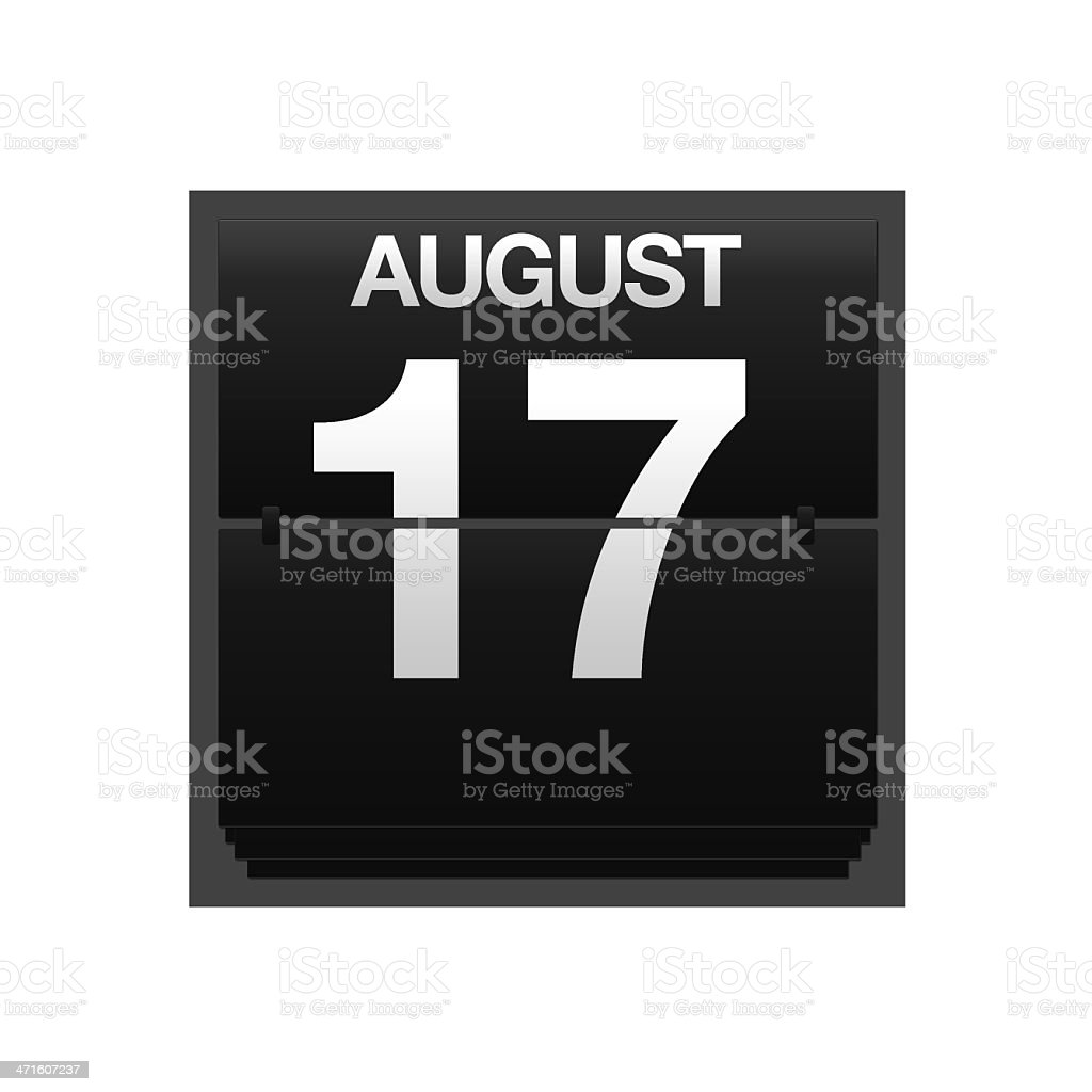 Counter calendar august 17. stock photo