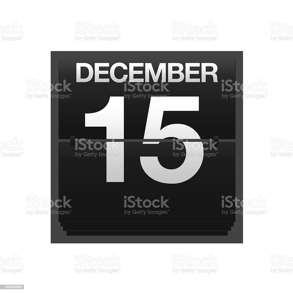 Counter calendar december 15. stock photo